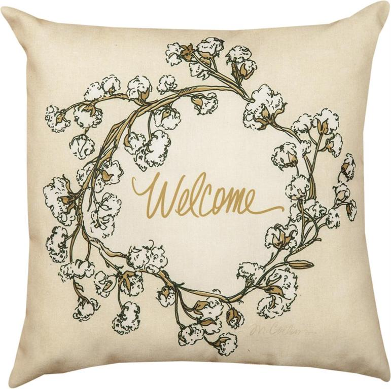 "Cotton Wreath Welcome Pillow 18"" Outdoor"
