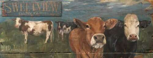 "Cow Wall Sign Dairy Farm 31.5"" USA Made"