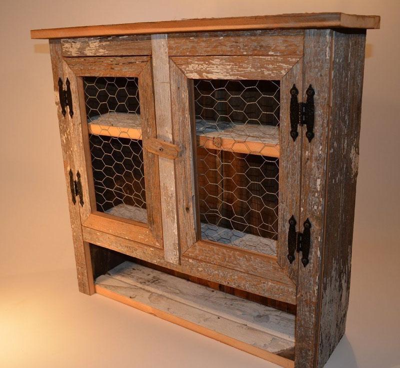 Chicken Wire Kitchen Cabinet Doors: Barn Wood Chicken Wire 2 Door Cabinet