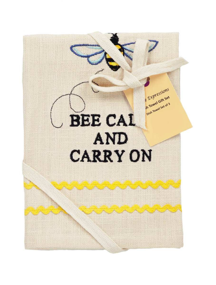 Bee Calm Carry On Dish Towel Set of 3
