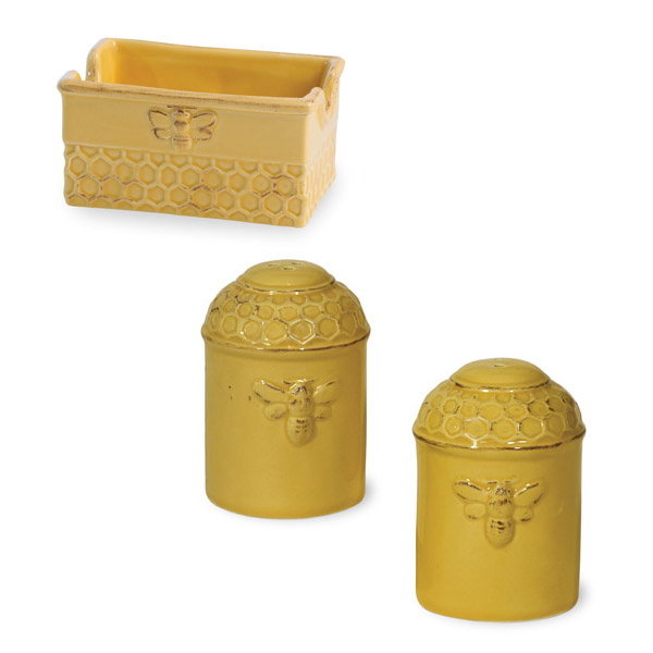 Honey Bee Salt Pepper Shakers & Sugar Packet Set