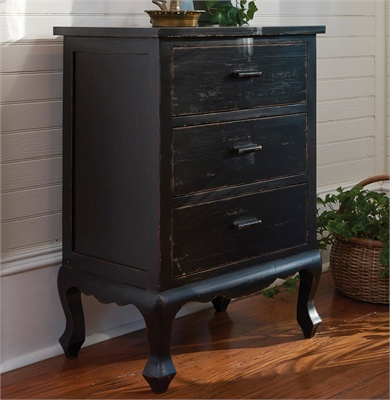 Black Distressed 3 Drawer Chest Cupboard