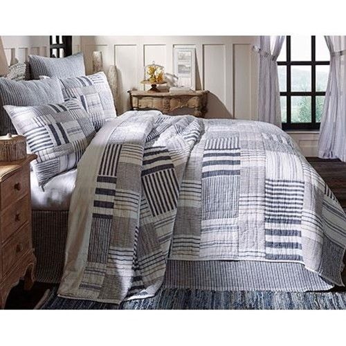 Bedding Set Quilt Shams Blue White Patchwork