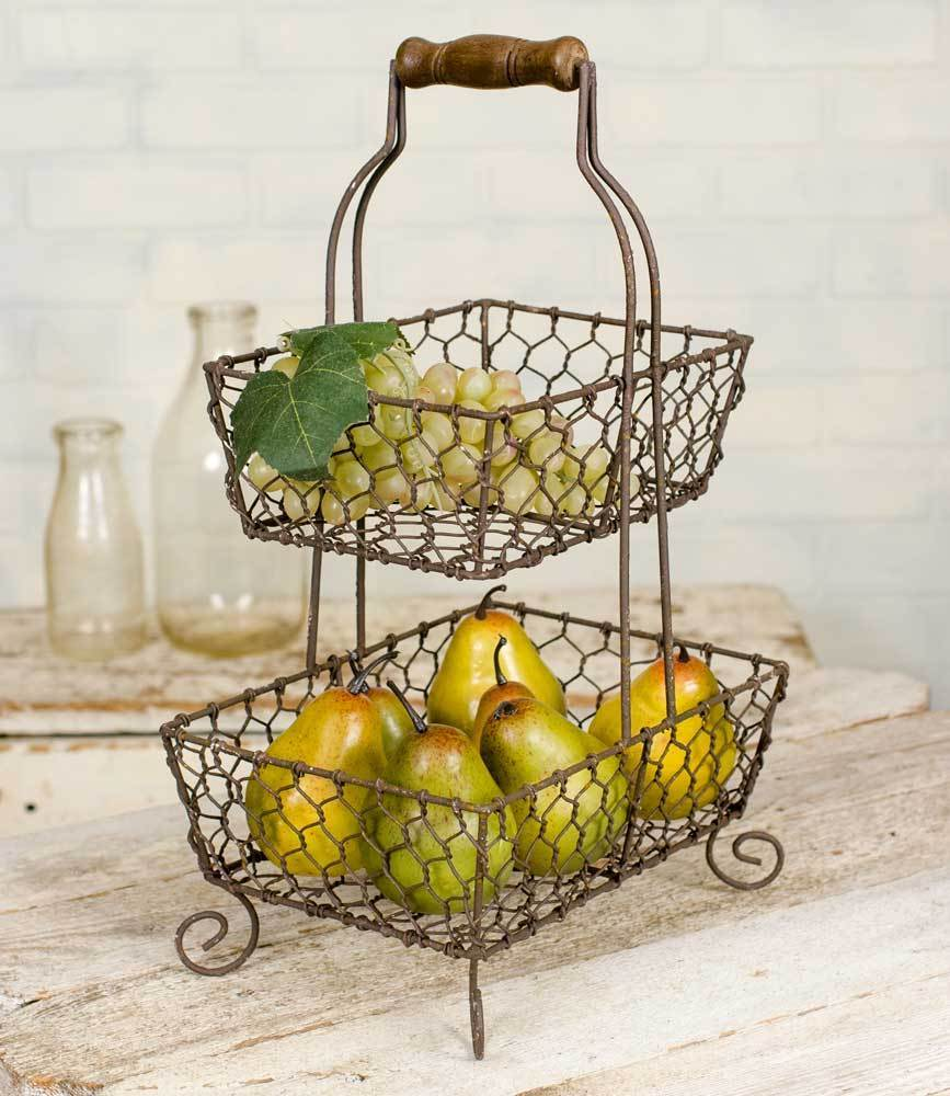 Chicken Wire Caddy Basket 2 Tier