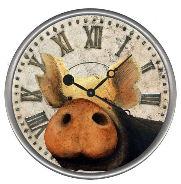 "Distressed Pig Wall Clock 15"", 18"", 23"""