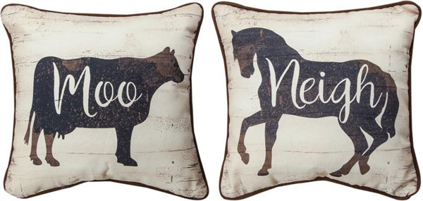 Cow Horse Pillow Reversible