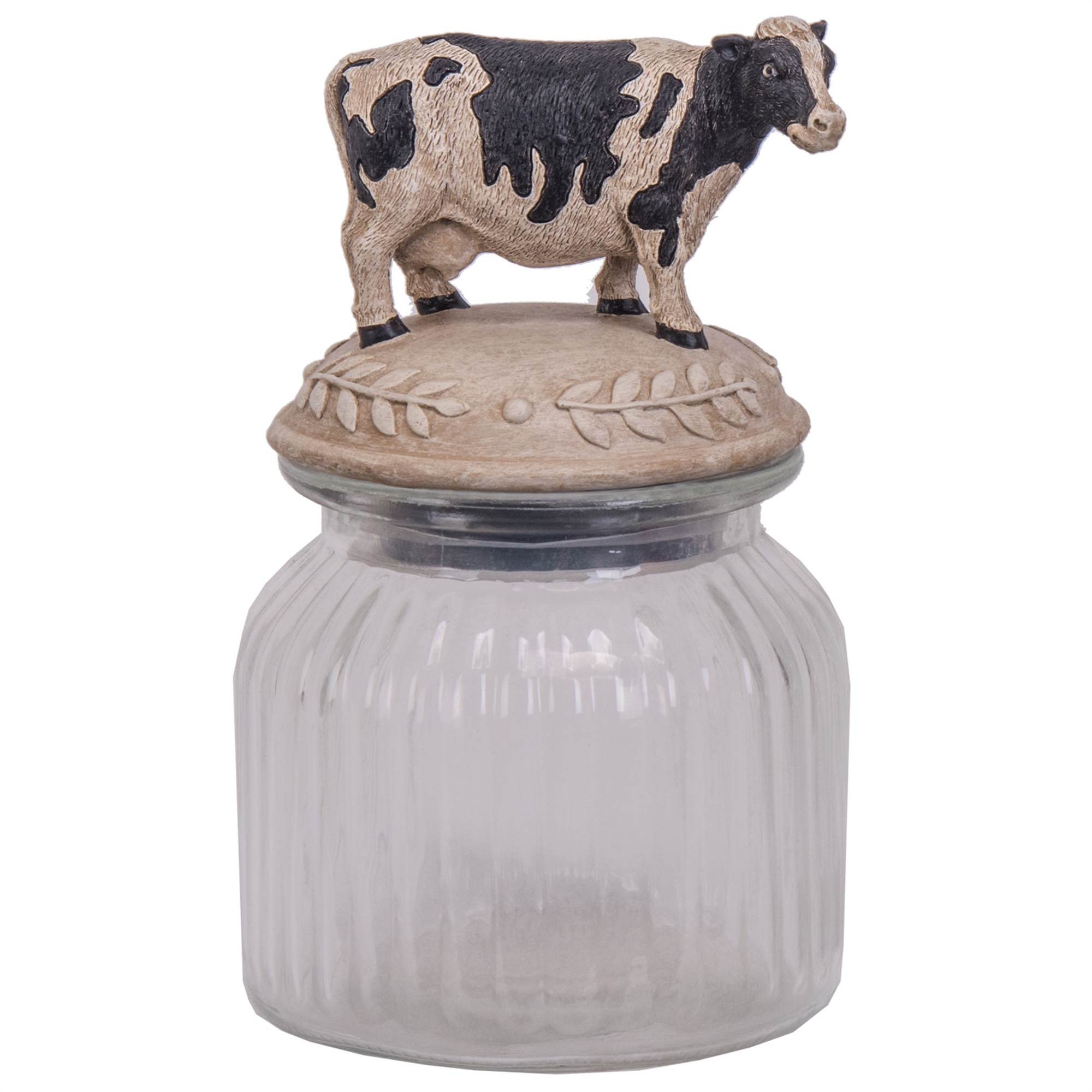 Glass Jar Cow Figurine Lid