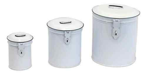 Set of 3 White Enamel Canisters