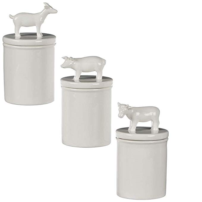 Farm Animal Canister Set 3 Pig Cow Goat