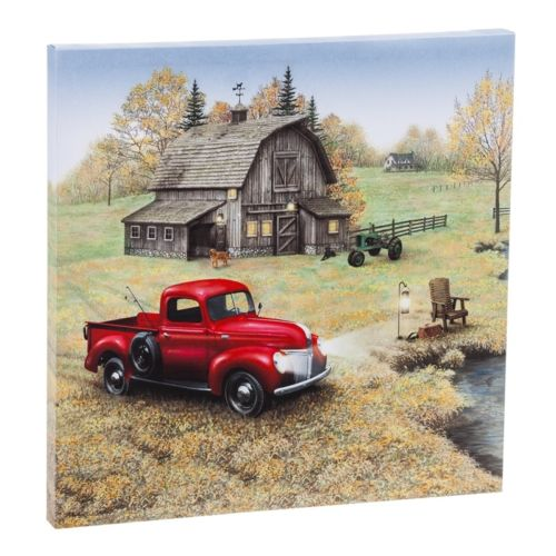 Red Farm Truck Led Canvas Wall Art 38 00 Farmhouse