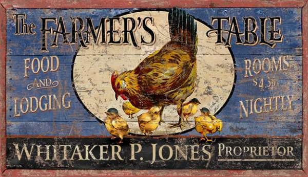 Farmers Table Chicken Sign Customize