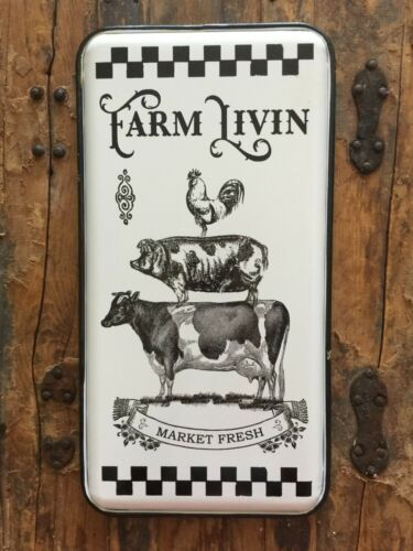 White Farm Sign Stacked Animal Rooster Pig Cow