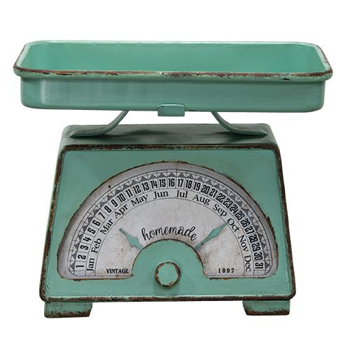 Kitchen Scale Calendar & Tray Distressed Green
