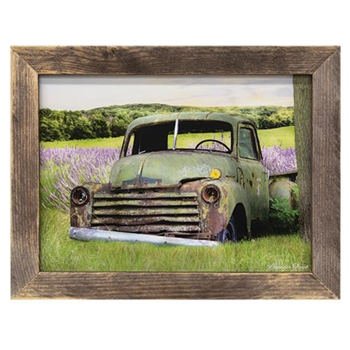 Farm Truck Lavender Meadow Picture Wood Framed