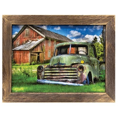 Farm Truck & Barn Picture Wood Framed