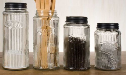 Glass Kitchen Canisters Coffee Sugar Flour Tea