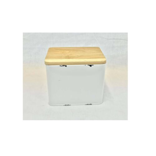 White Distressed Metal Canister Wood Top 7""