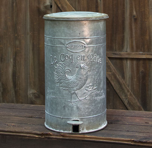 Metal Rooster Trash Can