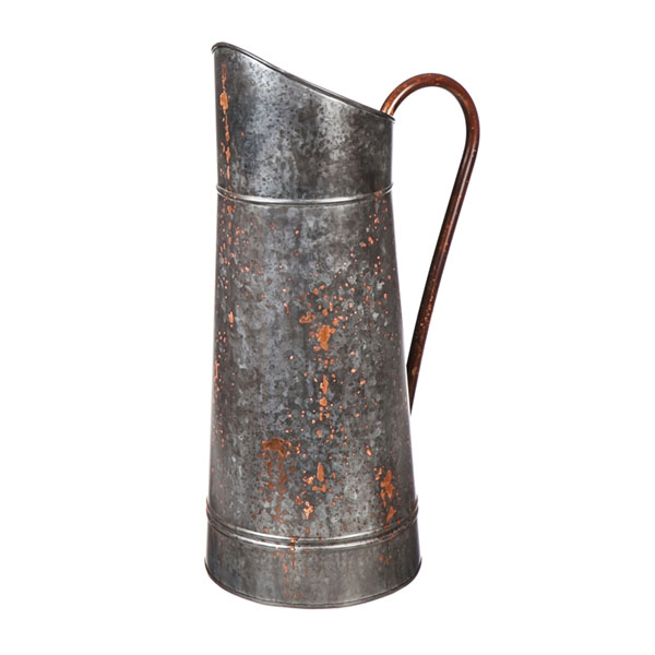 Tall Rustic Metal Pitcher Vase 22""