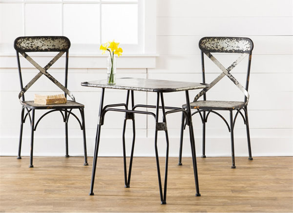 Table Chairs Set Galvanized Metal Vintage Distressed